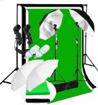 CanadianStudio Photo Studio Continuous 2-Head Umbrella Lighting Muslin Backdrop Stand Kit